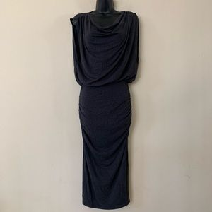 Heather Charcoal Grey Cowl Neck Ruched Midi Dress